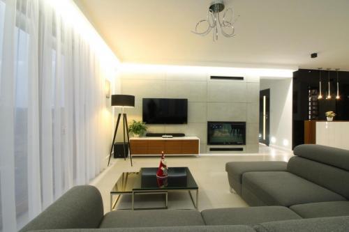 nowoczesny kominek obok telewizora, wkład kominkowy z szybą prostą pomorskie